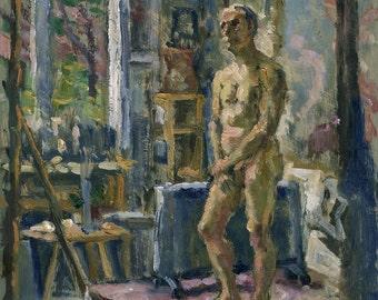 In the Studio. Interior Figure Painting, Original 10x8 Oil on Panel, 8x10 Male Nude, Realist Fine Art, Signed Original Artwork