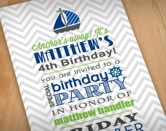 ANCHOR'S AWAY Birthday Boy Printable Invitation in Lime Green and Navy Blue