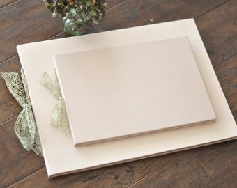 Blush Silk Wedding Guest Book/ Photo Guestbook and Matching Wedding Album with gold metallic lace
