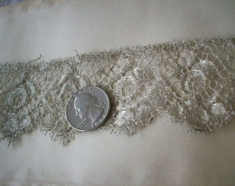 1 yard of a lovely rose design antique silver metal lace, more