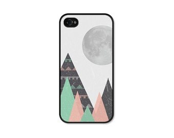Geometric Phone Case Tribal iPhone 5 Case - Mountains iPhone 5c Case Moon iPhone 4 Case Tribal Phone Case Mint Green Black Pink Coral Peach
