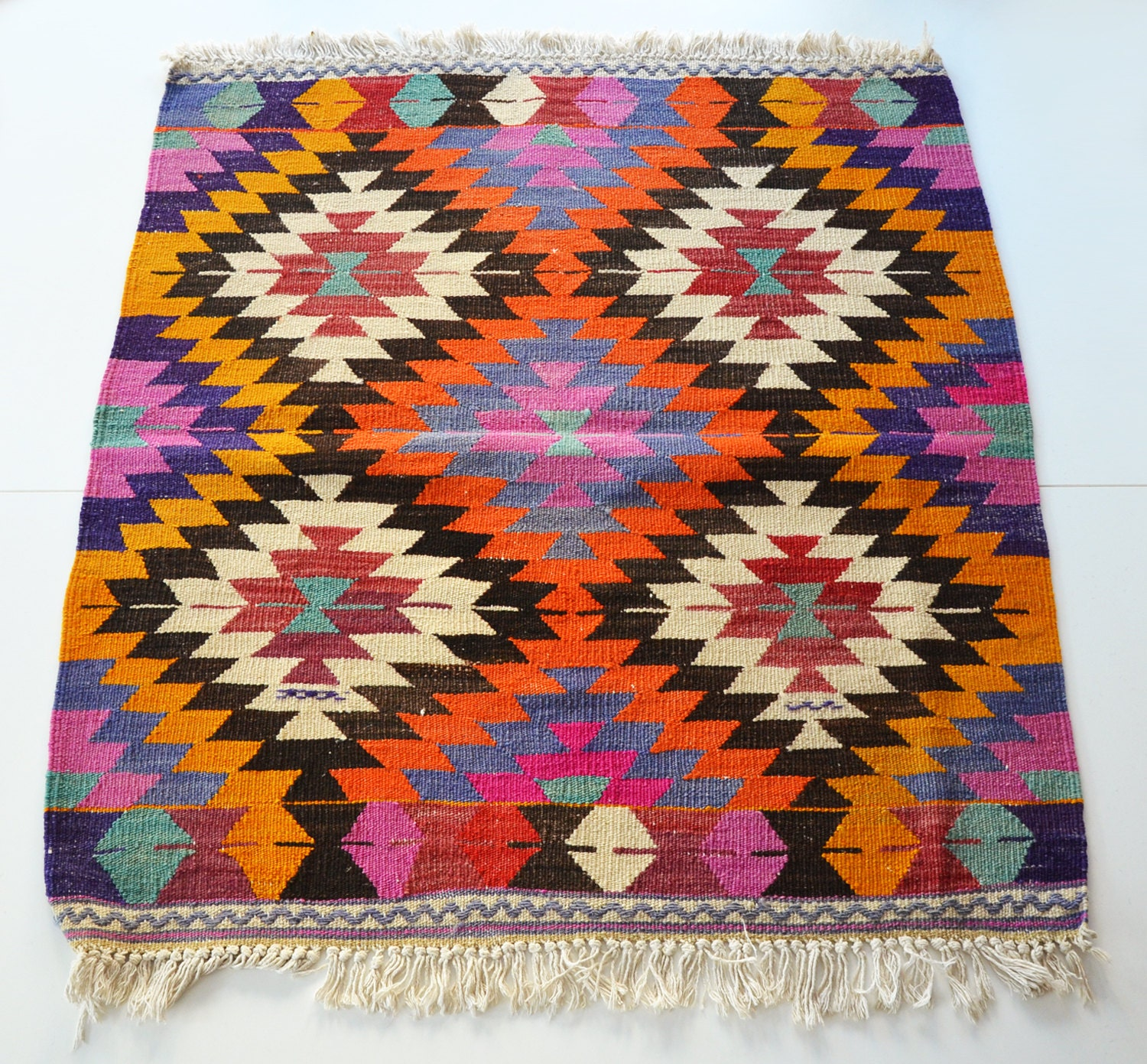 NO SALE / VINTAGE Turkish Kilim Rug Carpet Handwoven By Sukan
