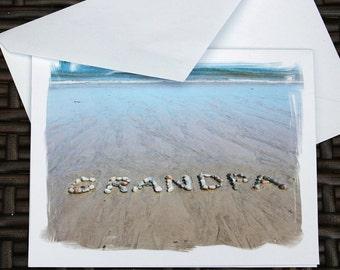 GRANDPA Cards- Beach Theme card set of 3, beach stone word, Fathers Day card, Grandfather, Grandpa Greeting Card, mybeachwishes card set