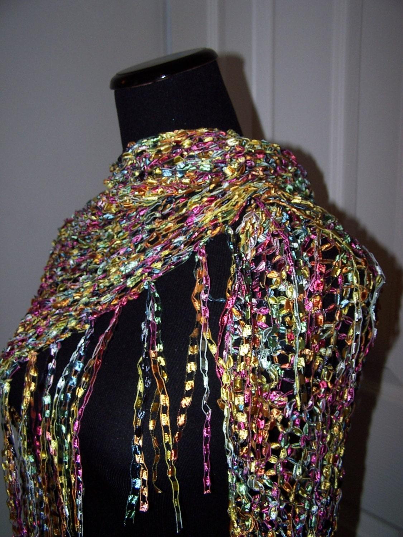 Knit Shawl Ladder Ribbon Yarn Wrap Triangular by WeeCatCreations