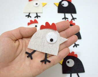 60 Pieces Die Cut Felt Comic Bird, Cock For Easter DIY Kits, Spring Themes