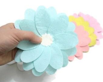 Pastel Colours, 5 Set Large Felt Petal Flowers,  Embellishments For Your Spring Projects