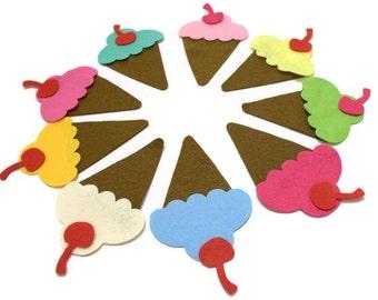 36 Piece, 12 Set  Die Cut Felt Ice Creams, Colorful Easter, Spring  DIY Kit