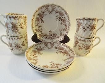 SALE! 4 sets Antique L S & S Demitasse Cups and Saucers  JAPO Transfer Pattern