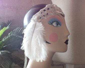 FLAPPER Headband Silver and Rhinestone Art Deco JAZZ AGE Headpiece