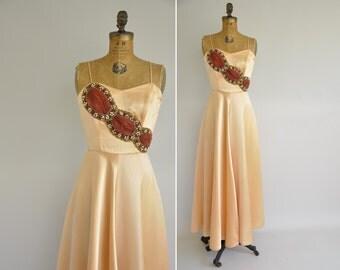 vintage 1940s dress / 40s peach satin gown / rare 1940s Emma Domb dress