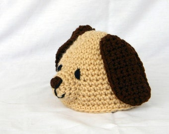 Crochet puppy hat 3-6 month size baby beanie newborn infant head covering winter costume photography prop dog pet cute