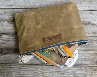 Large Waxed Canvas Pouch in Tumbleweed, makeup bag, canvas clutch, cosmetic storage, waxed canvas bag, gadgets, back to school, peg and awl