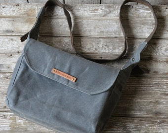 Messenger Bag, Waxed Canvas Finch in Slate, Crossbody Bag, Back To School, Purse, Handbag,Waxed Canvas Field Bag, Gift for Women, Man Gift