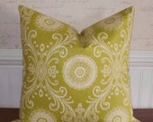Decorative Pillow Cover: Designer 18 X 18 Accent Throw Pillow Cover in a Lime Henna Design