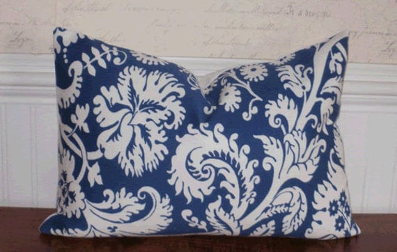 Decorator Pillow Cover: Duralee Indoor Outdoor 12 X 18 inch Accent Throw Pillow Cover in Royal Blue
