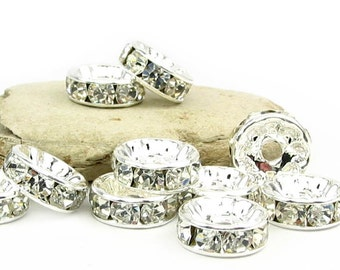 24 pcs 4mm 5mm 6mm 7mm  8mm 10mm Rhinestone Rondelle beads silver plated over brass - middle east stone - crystal clear - PICK SIZE