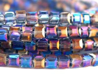 "15"" 4mm 6mm 8mm Ultra Blue AB half coat designer crystal cube 3D Beads faceted glass - PICK SIZE"