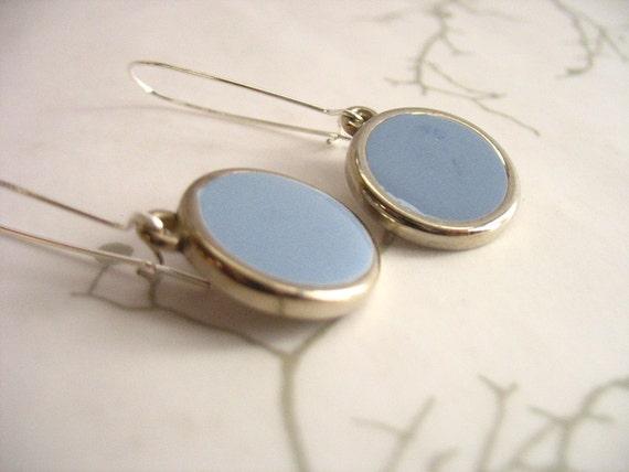 Dusk blue resin dangle earrings jewelry , round silver hanging resin earring jewellery , blue earrings , blue jewelry handmade earrings