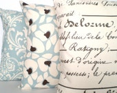 Blue Pillow Covers, Decorative Throw Pillows, Cushion Covers, Village Blue Natural, French Script, Damask - Combo Set of Three 18 x 18