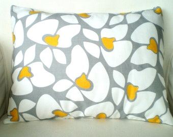 Gray Yellow White Pillow Cover, Throw Pillow Cushion Cover Lumbar Corn Yellow Grey White Helen, Couch Chair Bed Pillow, 12 x 16 or 12 x 18