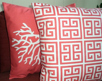 Decorative Throw Pillow Covers, Cushions, Coral White Greek Key, Beach Decor Nautical Pillow, Patio Couch Bed Pillows, Set Various Sizes