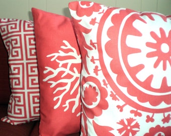 Coral Throw Pillow Covers, Cushion Covers, Coral White Greek Key Suzani Pillows, Coral Cushions, Couch Bed Sofa, Set of Three Various Sizes