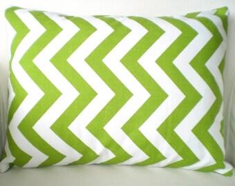 Green Chevron Lumbar Pillow Cover, Throw Pillows, Cushion Cover, Green White Zig Zag Handmade Pillow Couch Chair, One 12 x 16 or 12 x 18