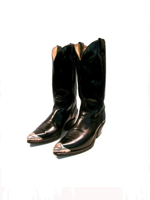 Vintage Mens Pre-Owned Acme Cowboy Boots Black Leather Pointy