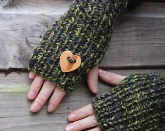 Valentines mittens with love heart wooden button in mixed greens