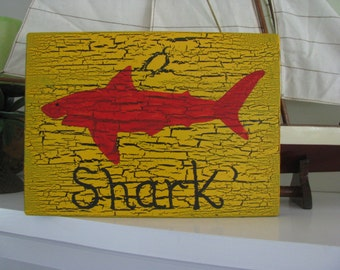 Shark Hand Painted Sign / Fish/ Coastal/ Room Decor