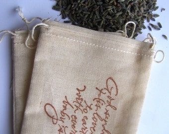 25 LAVENDER FILLED 'God sends His love' Baby shower themed stamped muslin drawstring bags