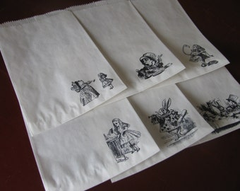 75 ALICE IN WONDERLAND party favor or treat bags- White or Brown