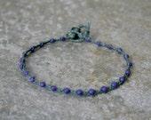 Plum Purple and Gray Single Wrap Bracelet Perfect Beach Jewelry
