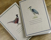 Set of 2 Mini Journals made of Recycled Papers, Heron and Pheasant Watercolor Prints