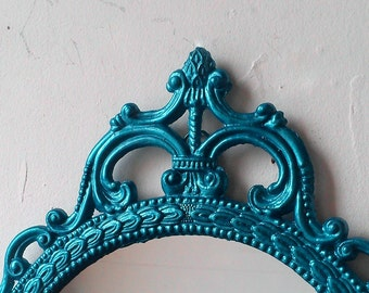 Ornate Oval Mirror in Vintage 17x12 Inch Metal Frame, Teal Home Decor, Wall Decor, Small Bathroom Mirror, Boys Nursery