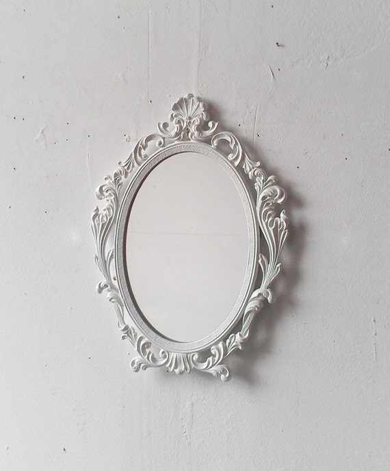 White wall mirror in vintage oval frame 9 by 7 inches for White framed long mirror