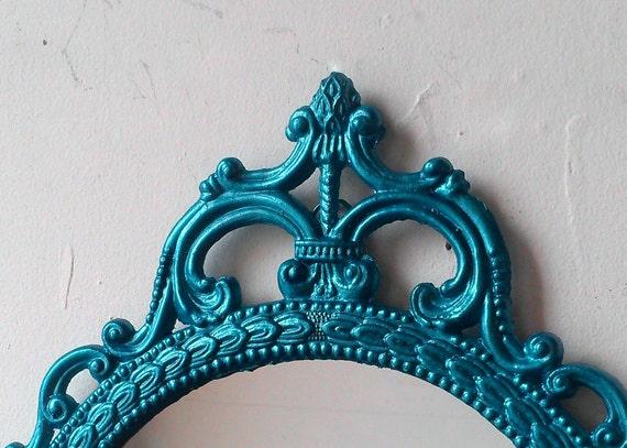 Ornate Oval Mirror In Vintage 17x12 Inch Metal Frame Teal