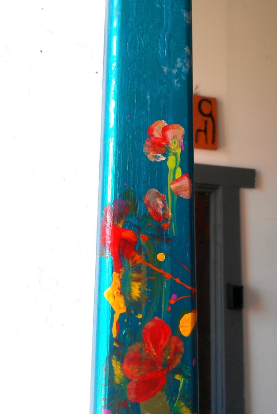 Long framed mirror with hand painted spring by for Long framed mirror
