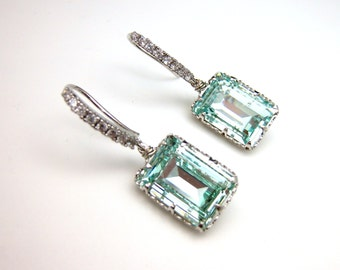 Swarovski light azore light blue green mint rectangle square foiled step cut crystal rhinestone with cubic zirconia deco white gold hook