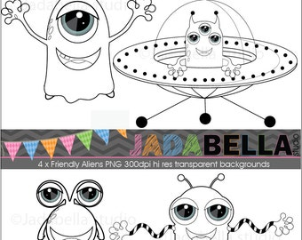 Instant Download  DIGITAL STAMPS Aliens - graphic file-download/printable -Personal and Small commercial use