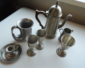 vintage mixed lot of 7 pewter, aluminum, assorted goblet, candle holder, pitcher server, creamer,  stein,