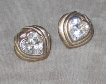 My Heart is Made of Crystal Great Designer Signed 925 Sterling Silver Crystal Heart Earring Great For Spring Summer