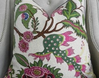 "Decorative Designer Lumbar Pillow Cover - 18""X18"" - Schumacher Sinhala Linen print in jewel - Pattern on the front"