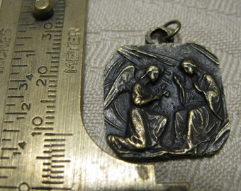 Bronze  Medal Our Lady & Saint Gabriel Archangel The Annunciation Religious Catholic jewelry pendant necklace rosary charm bracelet