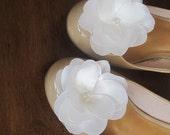 Pure White Camellia Flower Shoe clips Handmade satin flowers