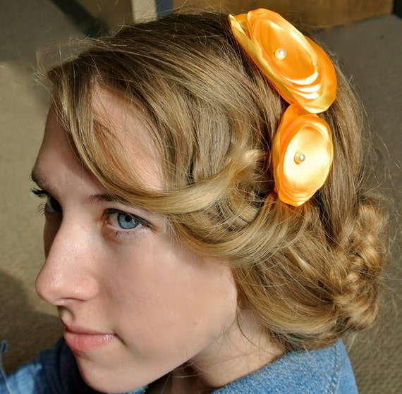 Sunny-Flower Headband with Sunny Yellow and Pearl Center