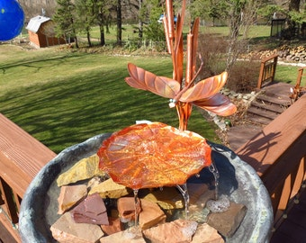 Garden Art Birdbath Fountain Copper Cattail Dragonfly & Lily Pad Container Style