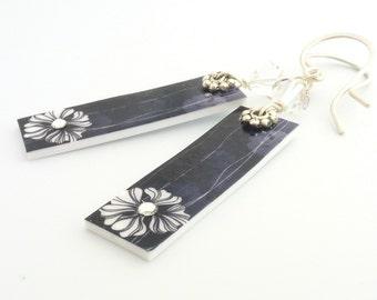 Crystal Embellished Floral Black Tag Earrings