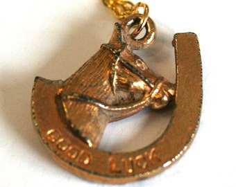 horse shoe necklace for good luck,  pendant, gold charm, chain