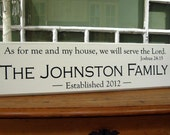 "Carved Verse: As for me and my house, we will serve the Lord""   Carved Personalized Family Name Sign"